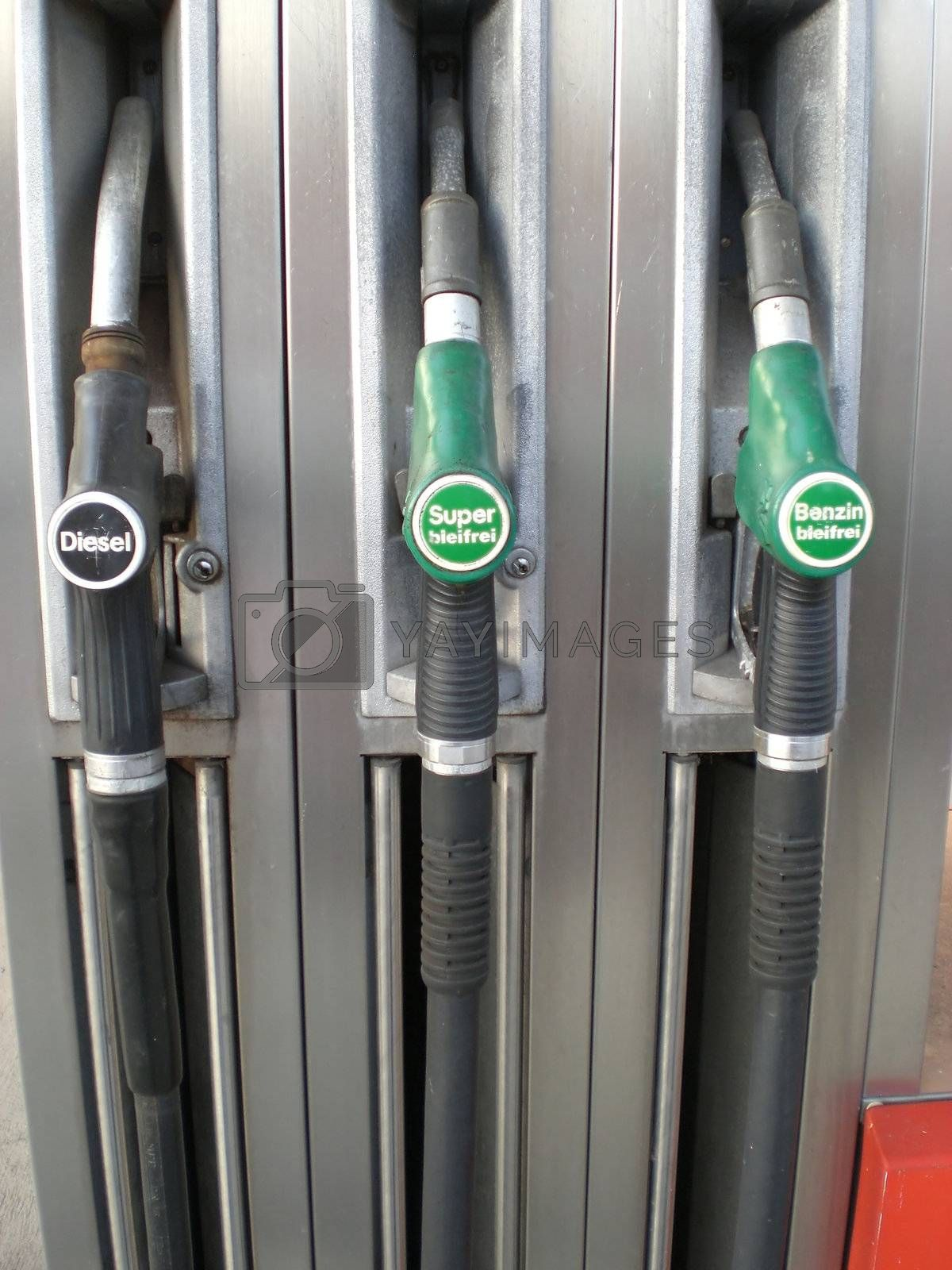 Detail of a gas filling station, Germany, no logos or trademarks, words say: diesel, leaded fuel, unleaded fuel