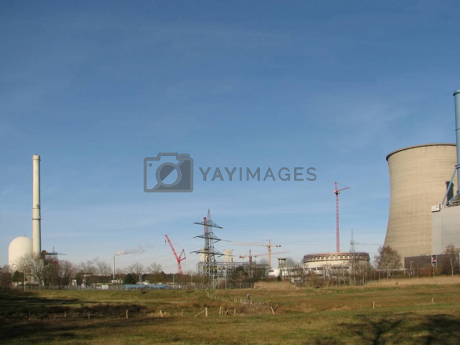 natural gas power plant on the right and nuclear power plant on the left, Lingen, Germany, 2007