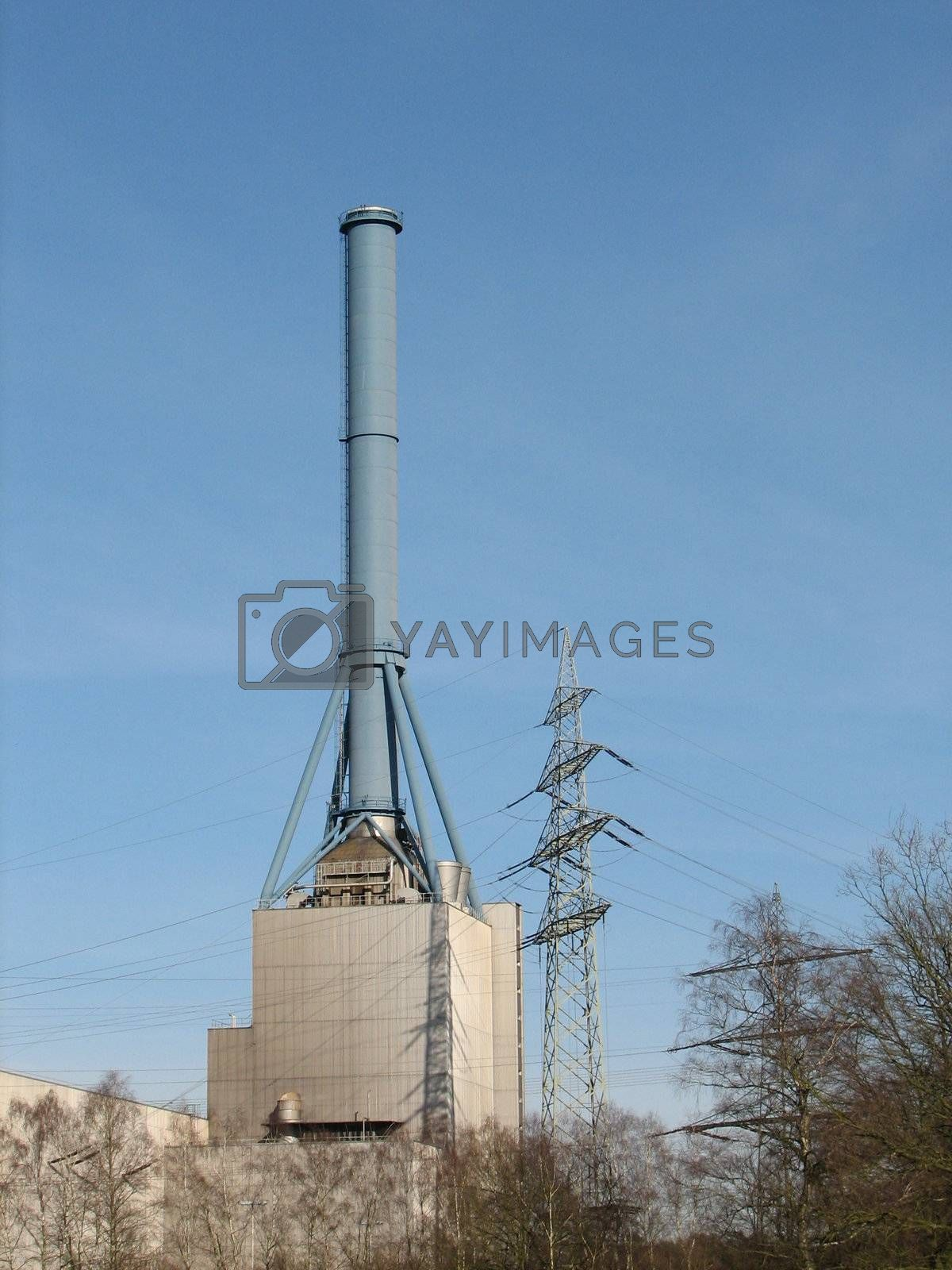 natural gas power plant, with chimney, Lingen, Germany
