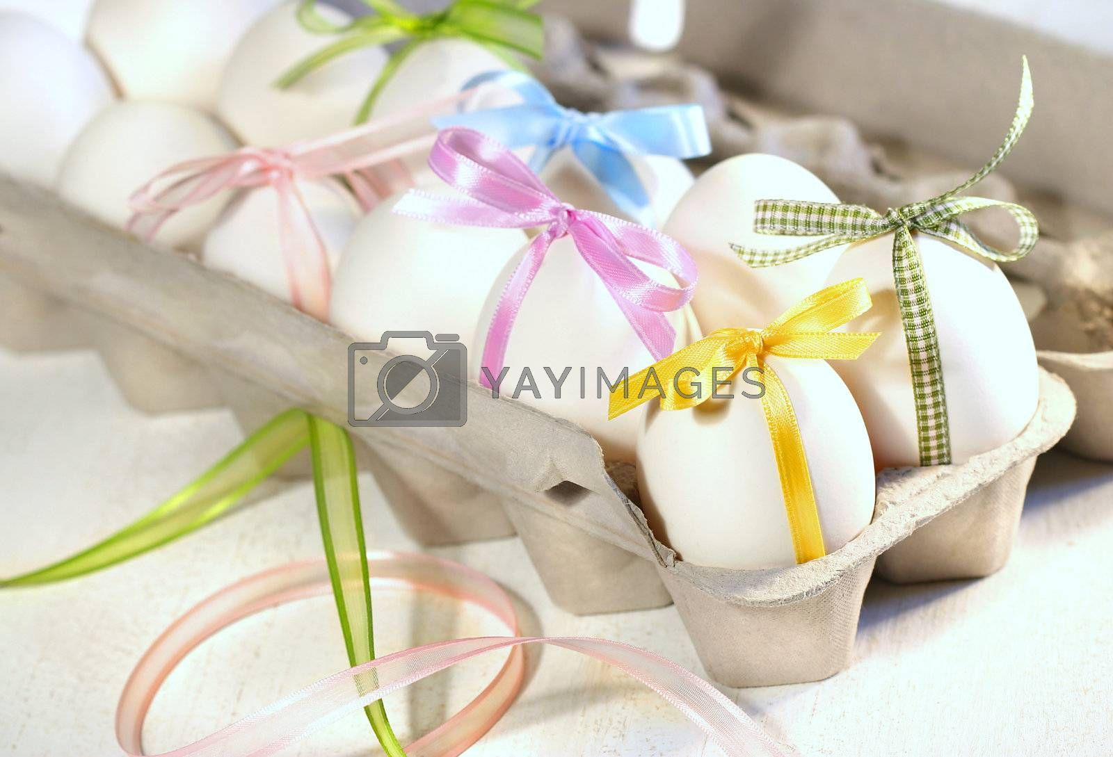Eggs with ribbons ready for Easter festivities