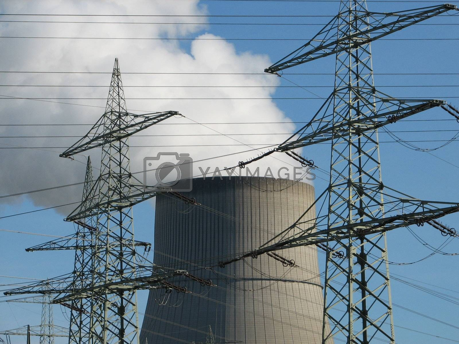 power supply lines with cooling chimney, Emsland, Germany, 2008