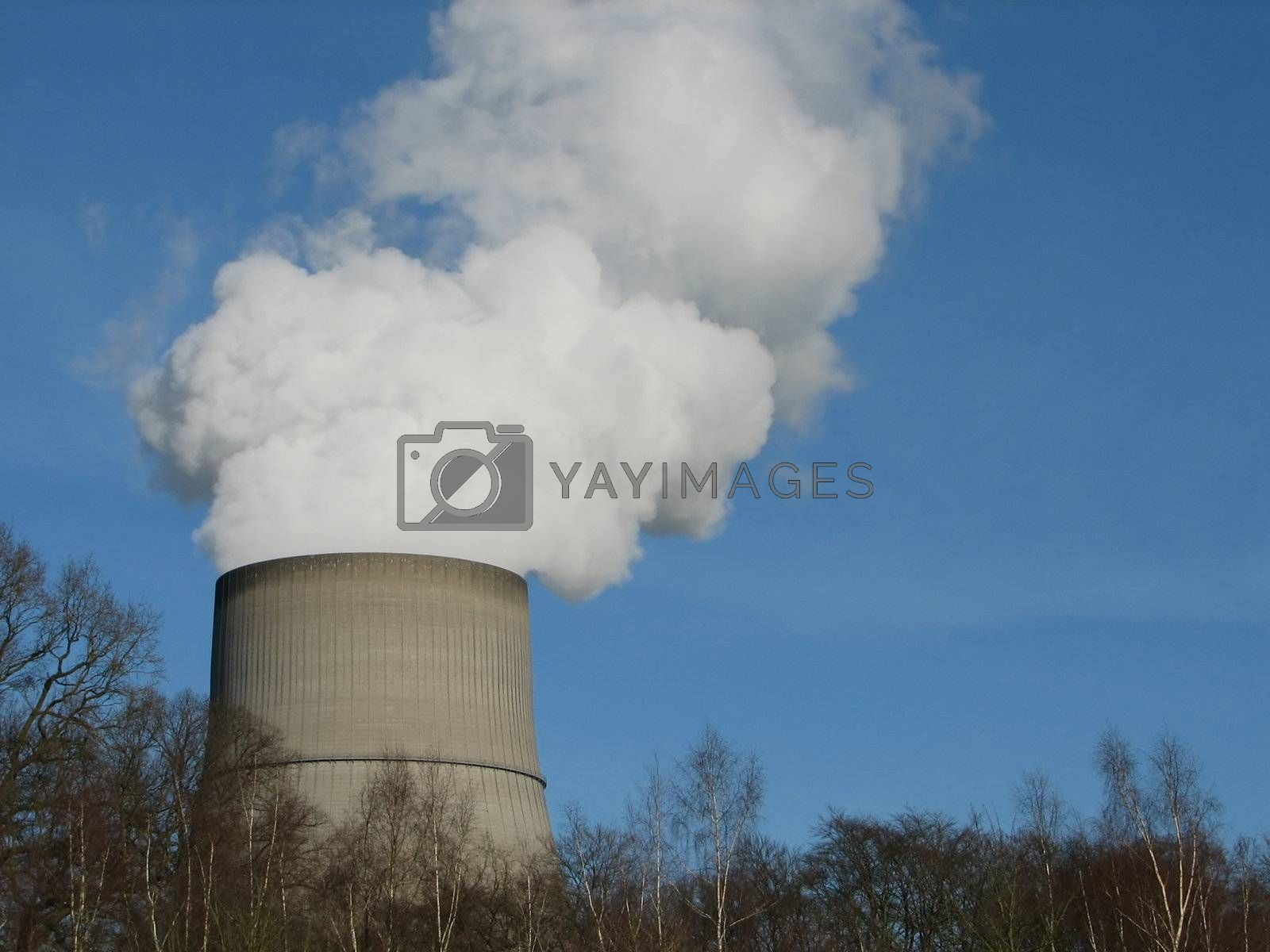 Chimneys, cooling towers, smoking, northern Germany, 2008