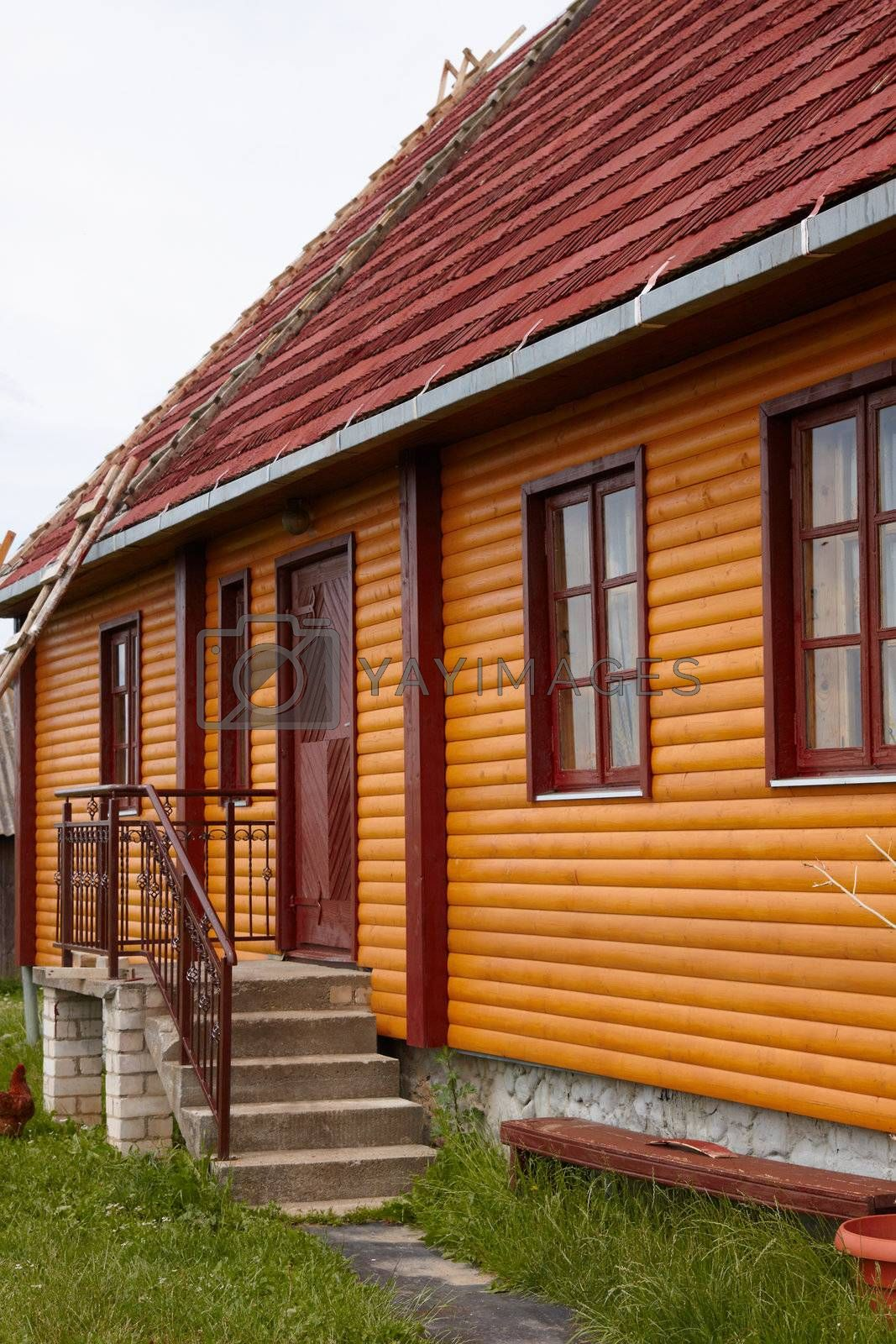 Fragment of restored wooden house in Lithuania