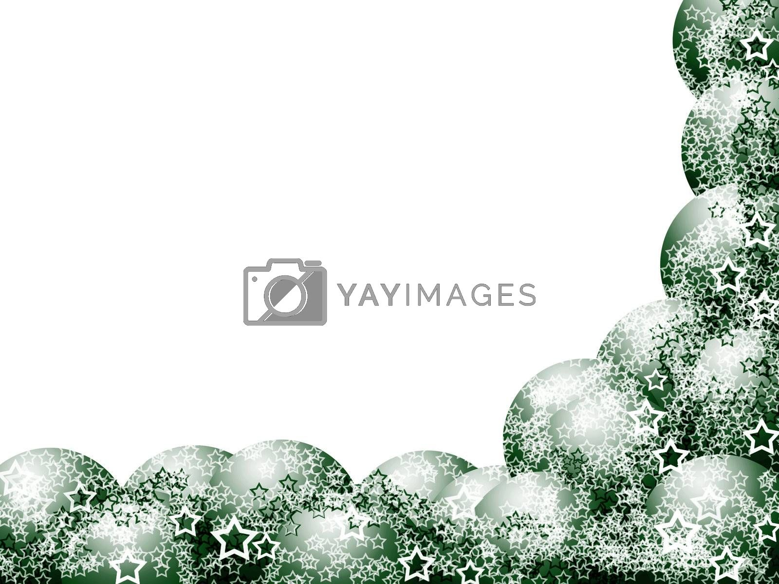 Elegant Christmas Corner Frame with Green Balls and Lacy Stars over Blank White Background