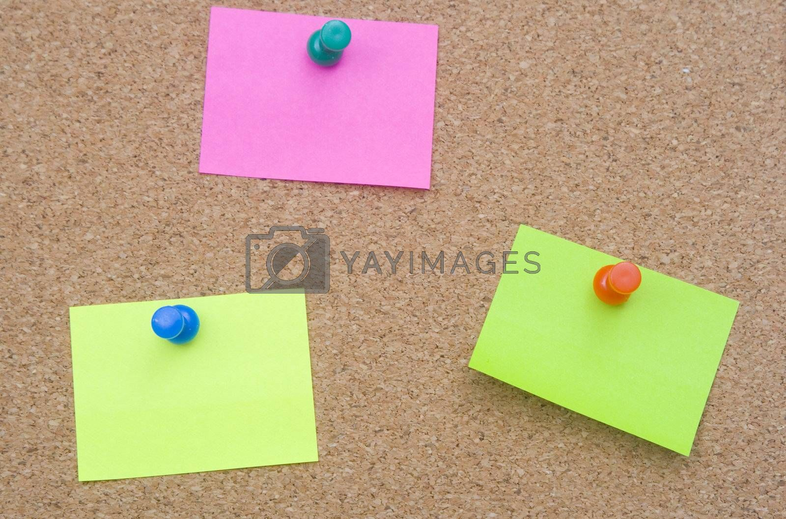 blank and empty sheet paper with pin on bulletin board