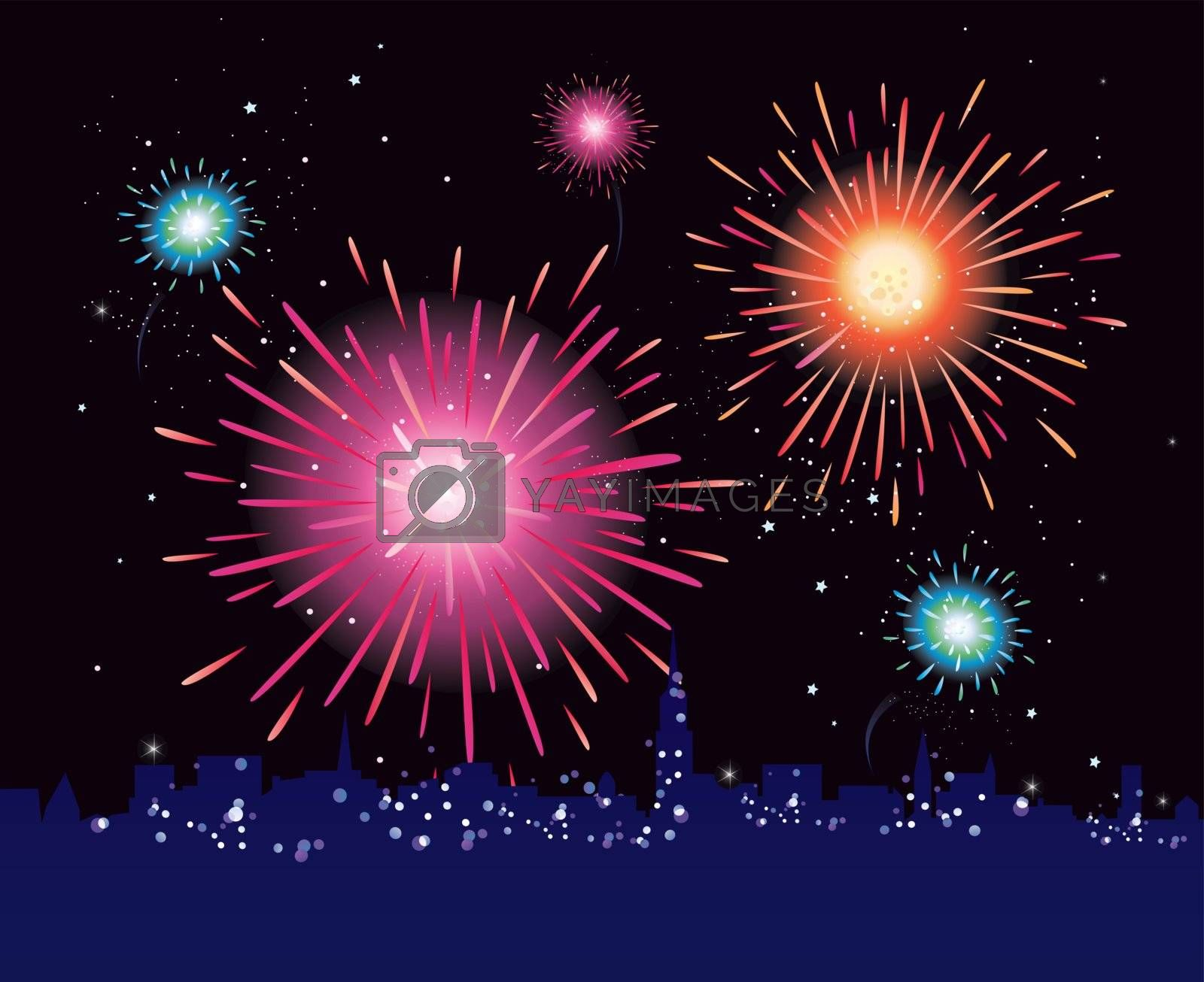 New Year in the city celebrated with fireworks. Vector illustration.