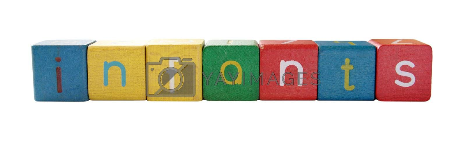 the word 'infants' in colorful children's block letters isolated on white