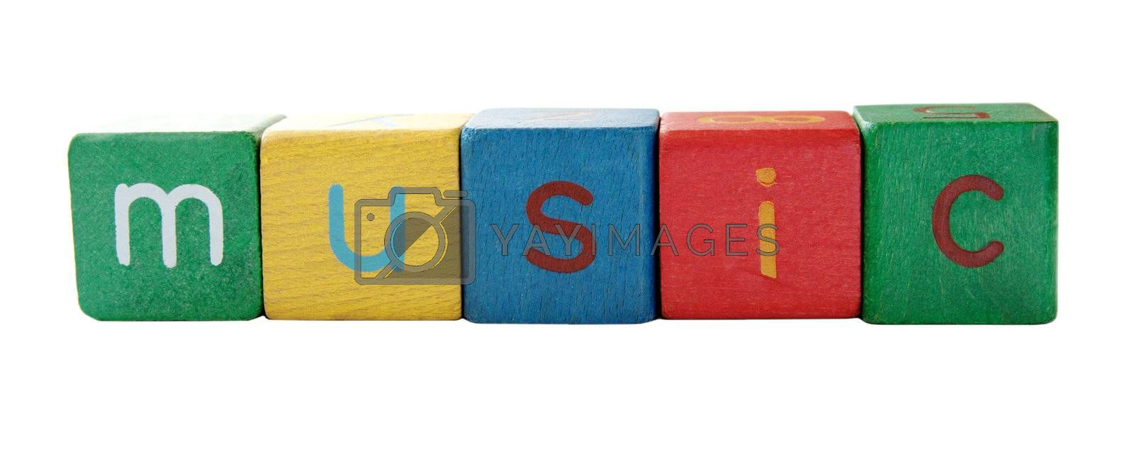 the word 'music' in colorful children's block letters