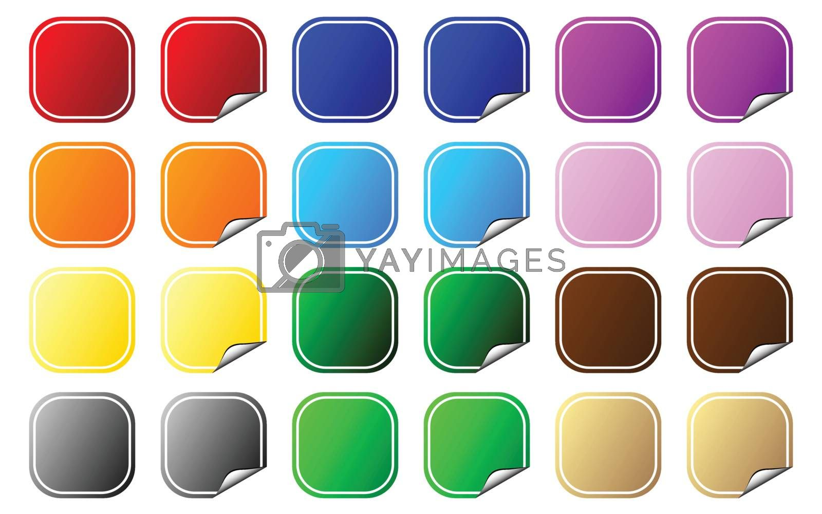 Collection of square shaped colorful tags. Flat and peeling. Vector.