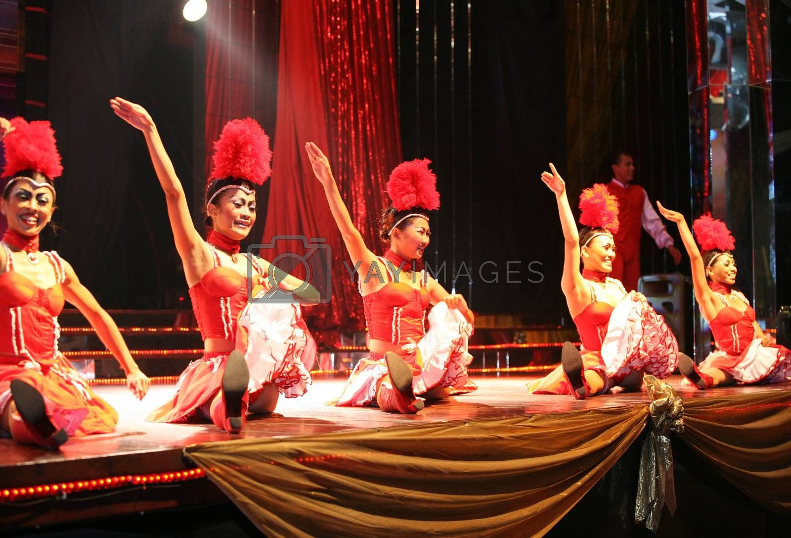 The women the dancer in a night club. Bali. Indonesia