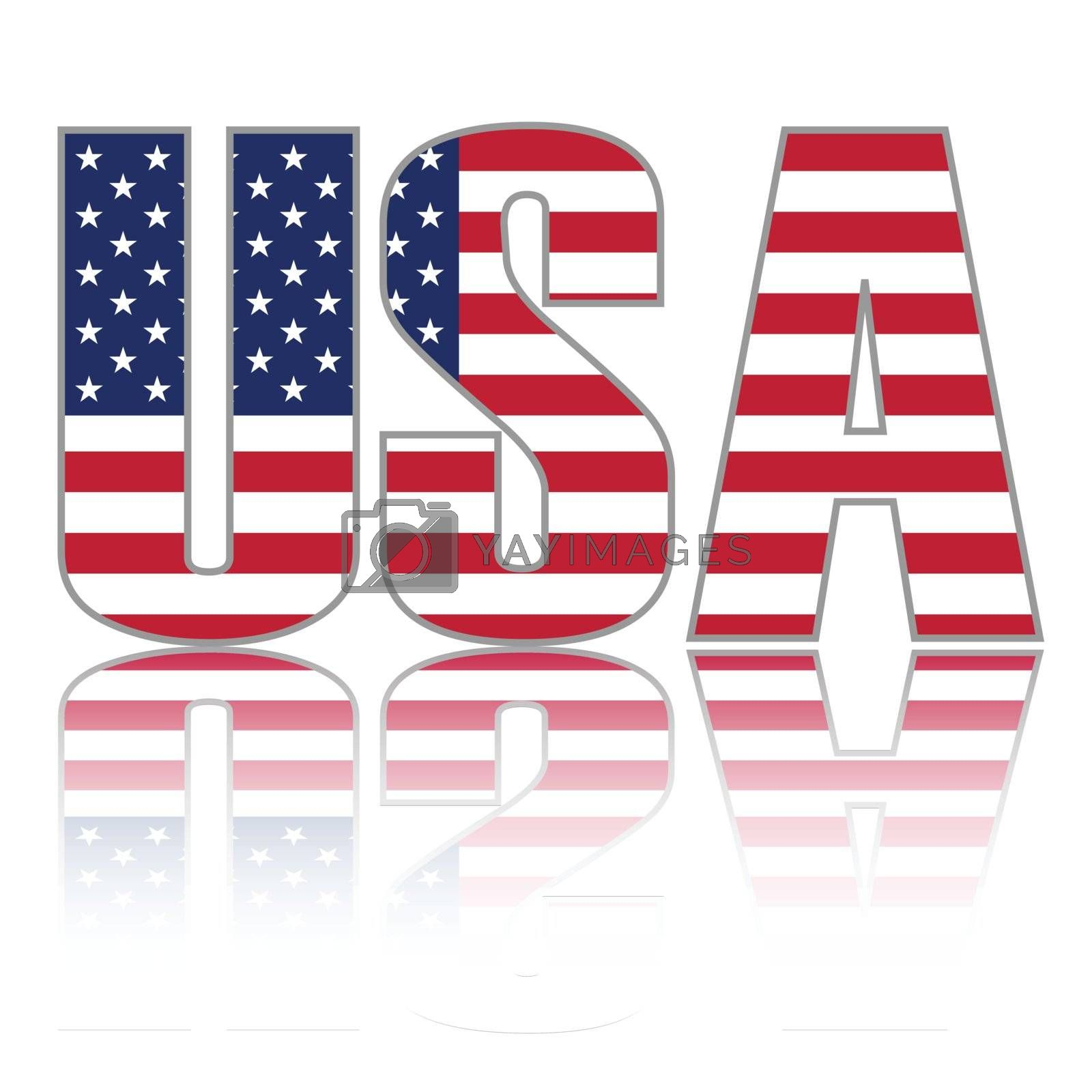USA word with flag and reflection.