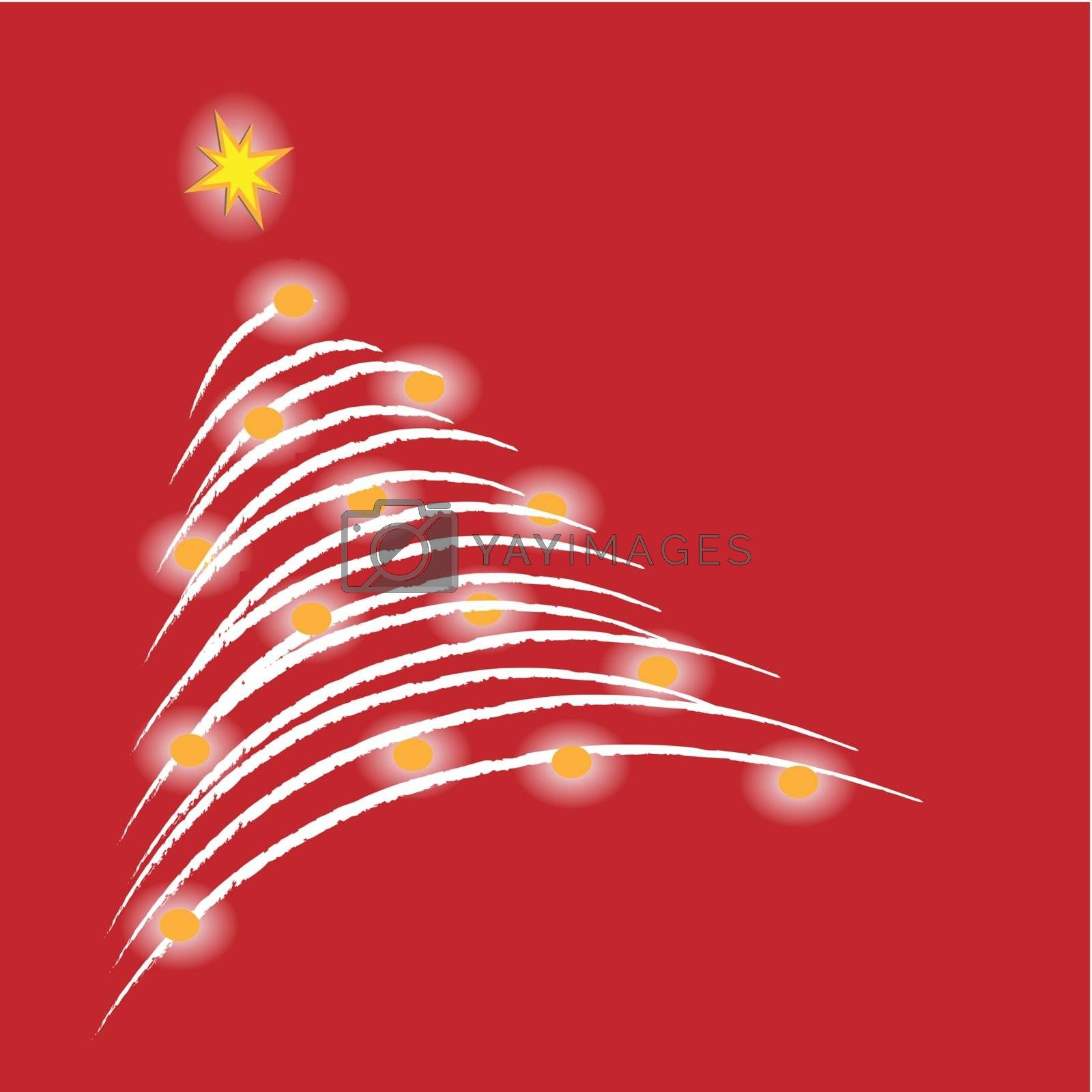 A glowing christmas tree on red background. (vector)