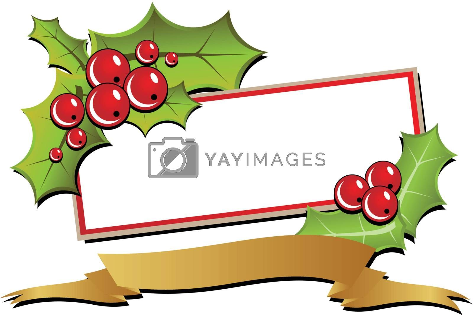 Christmas card with holly and a golden ribbon. Illustration. (vector)