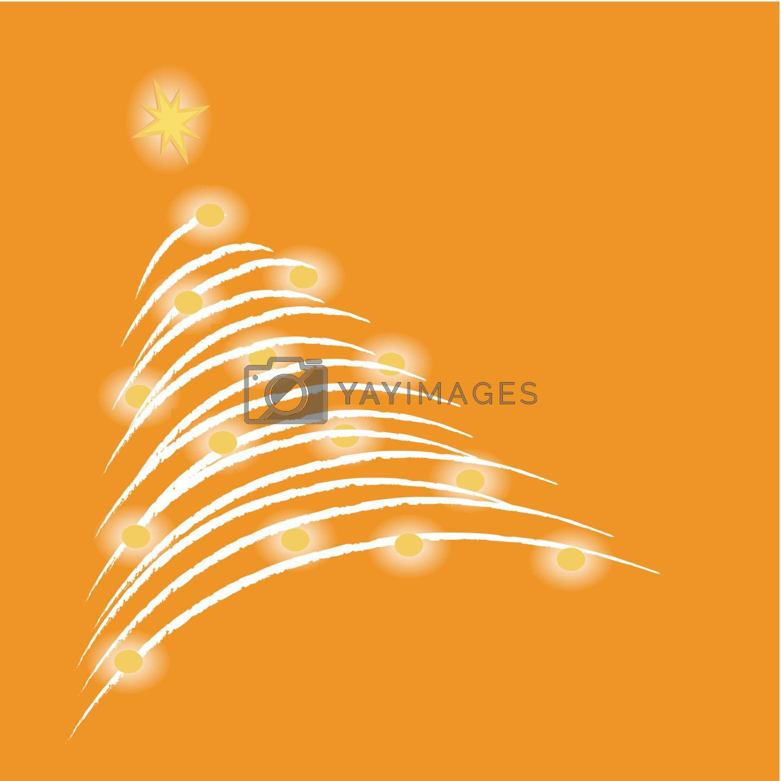 A glowing christmas tree on orange background. (vector)