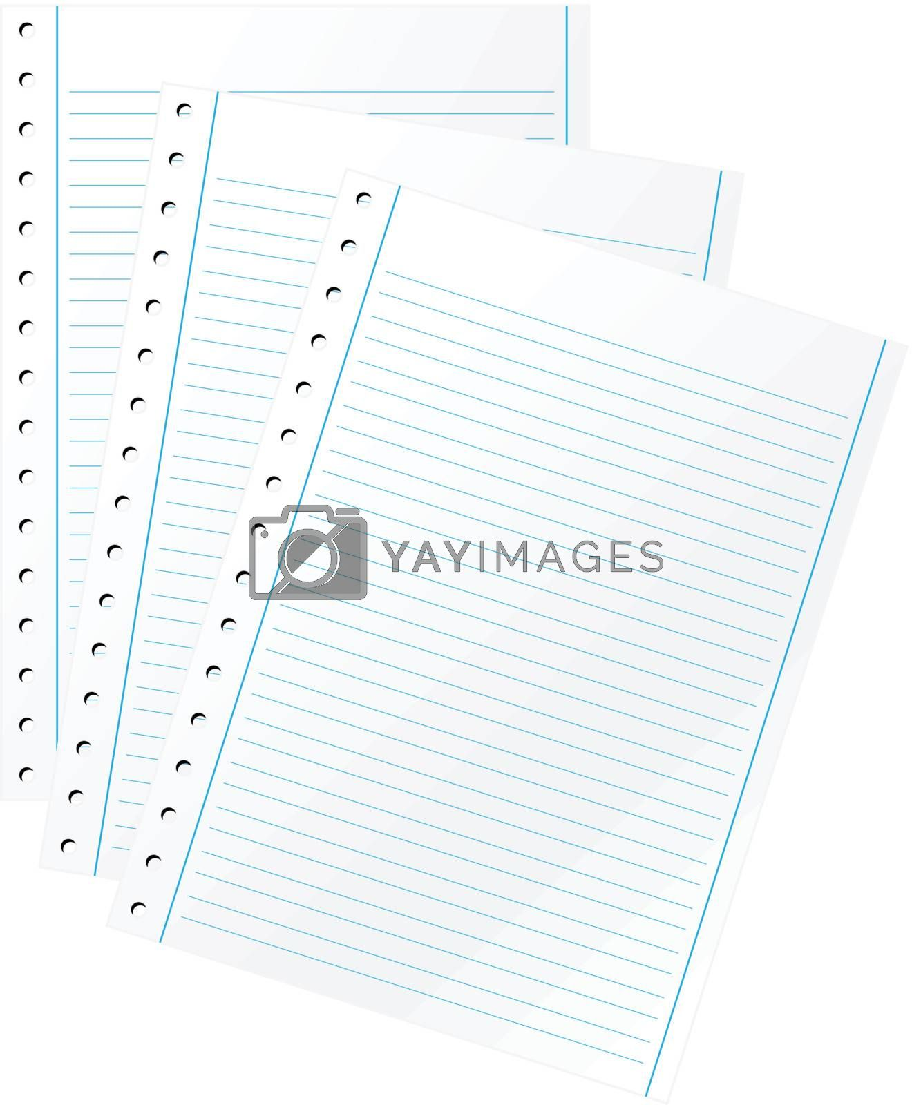 Blank sheets of paper over white background. (vector)