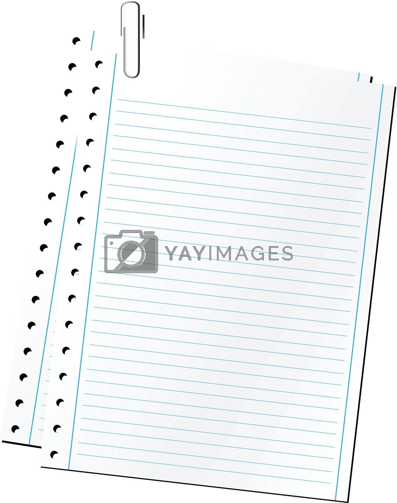 Blank sheets of paper on a paper clip over white background. (vector)
