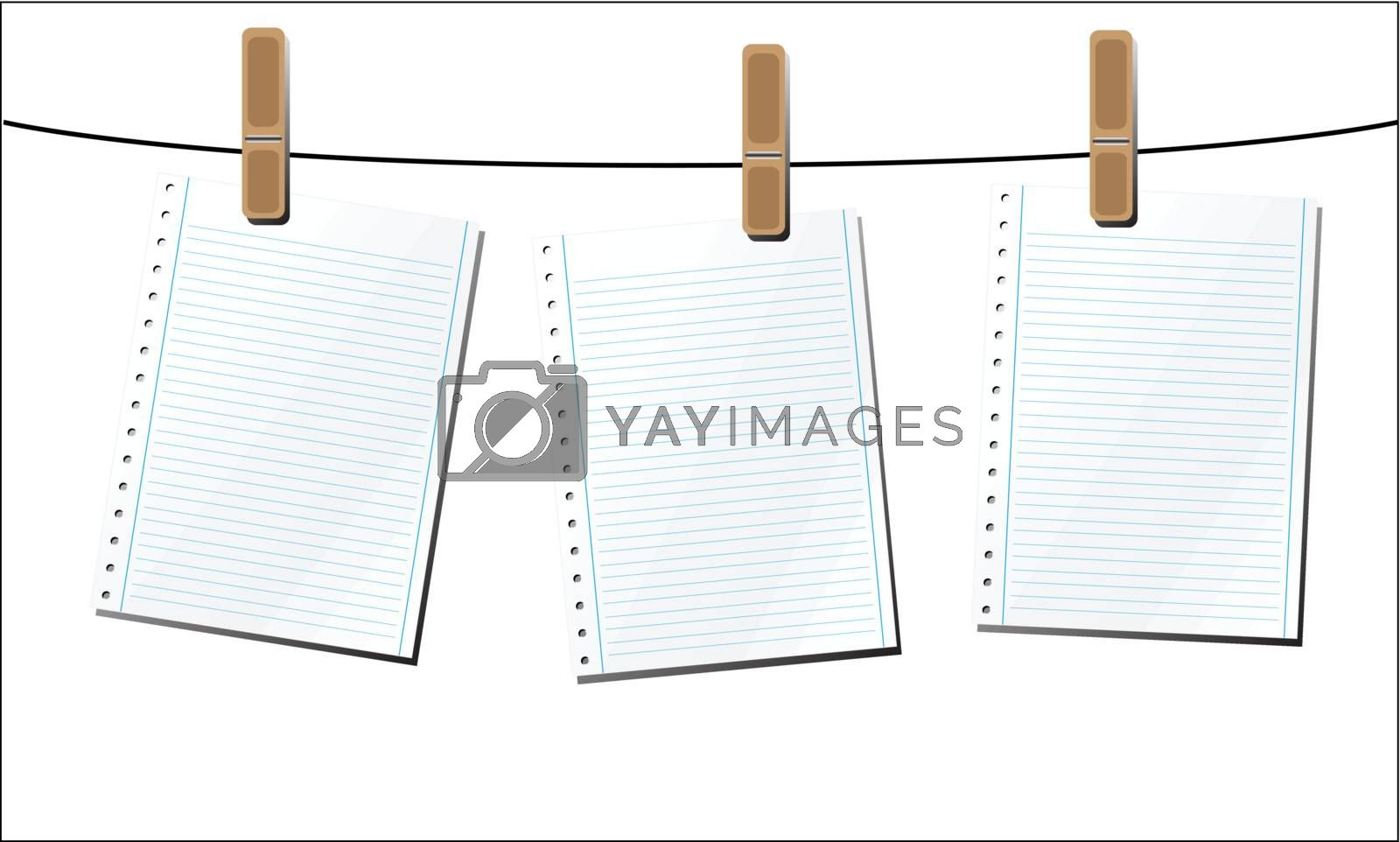 Royalty free image of Sheets of Paper on a Wire by ajn