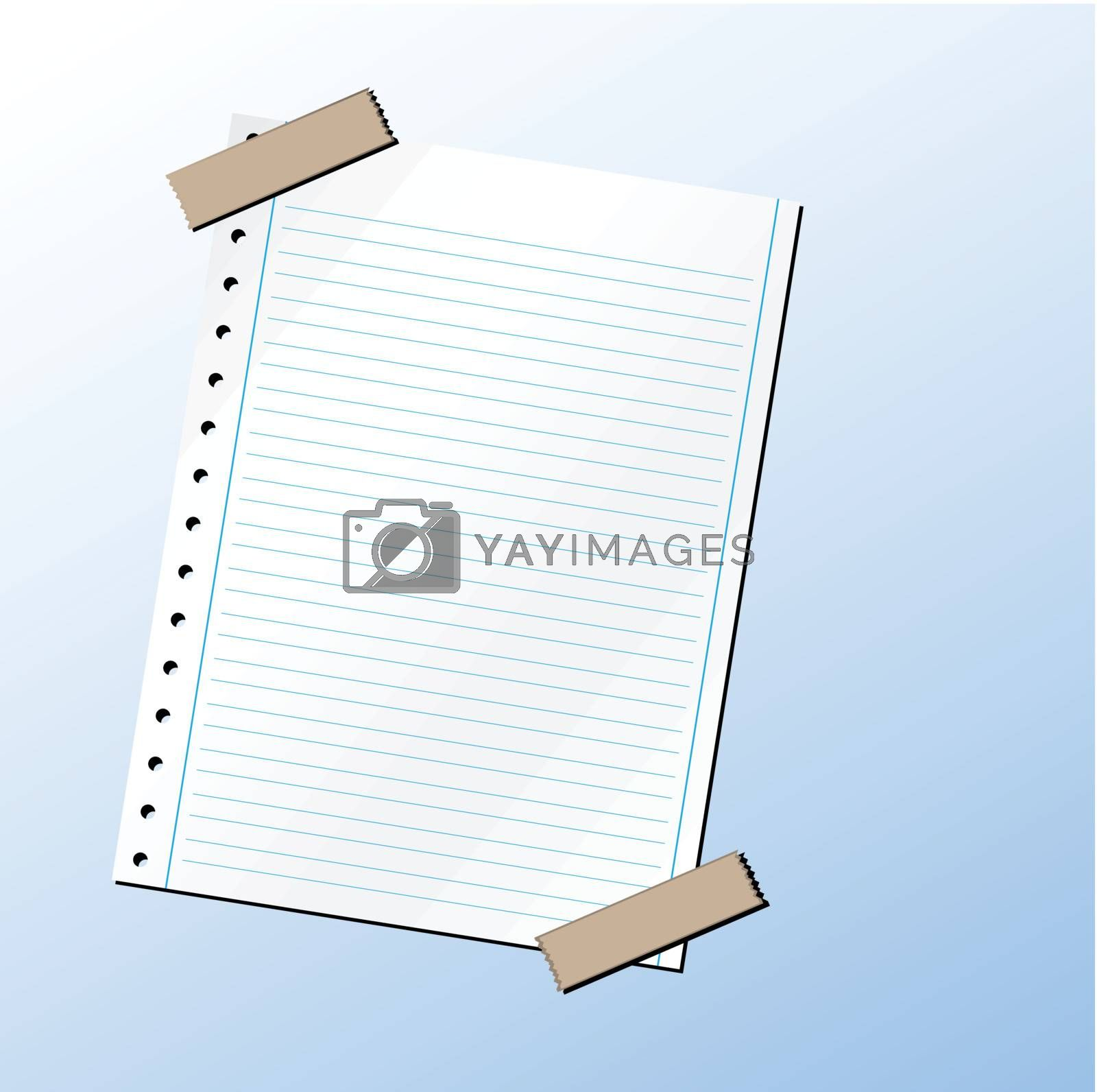 Blank sheet of paper with duct tape. (vector)