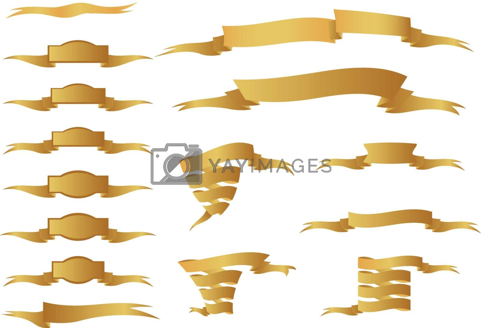 Collection of golden ornamental ribbons. (vector)