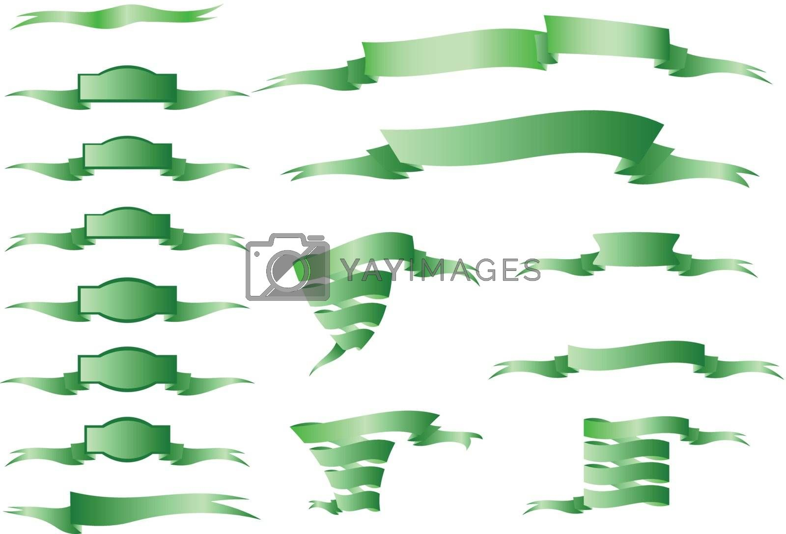 Collection of green ornamental ribbons. (vector)