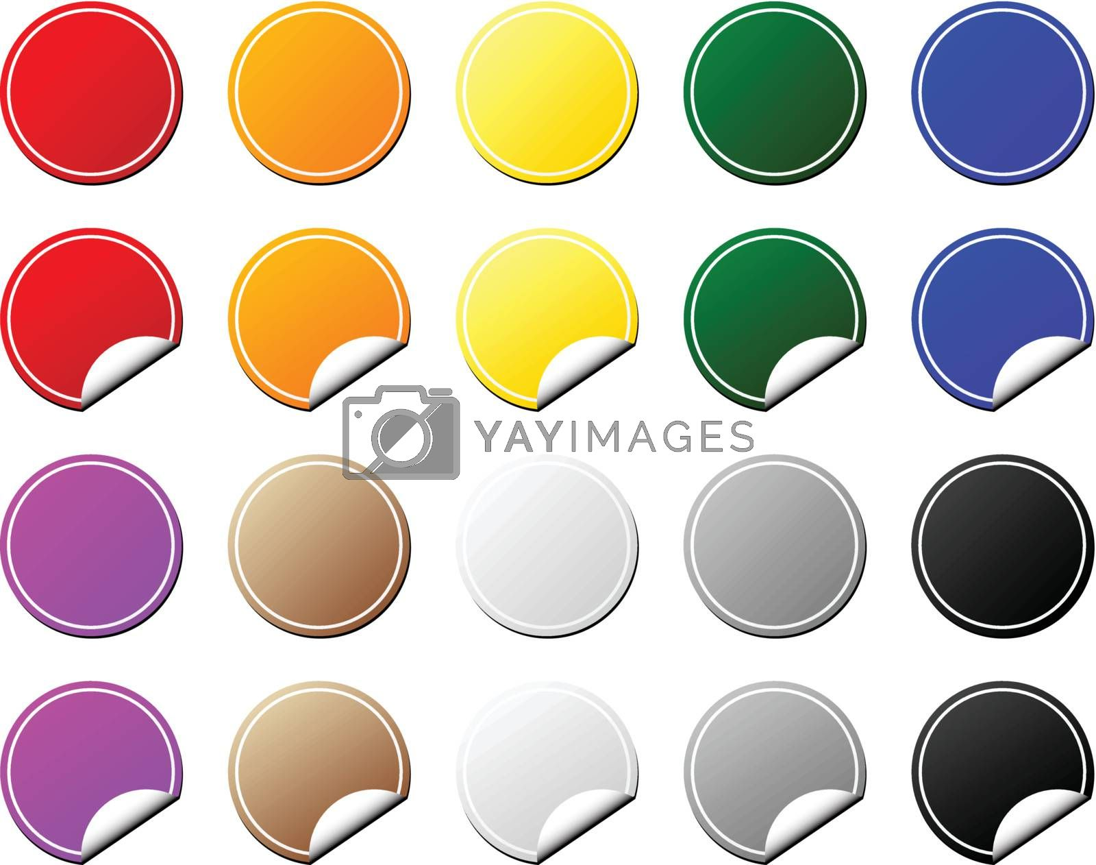 Collection of colorful tags. Flat and peeling. Vector.
