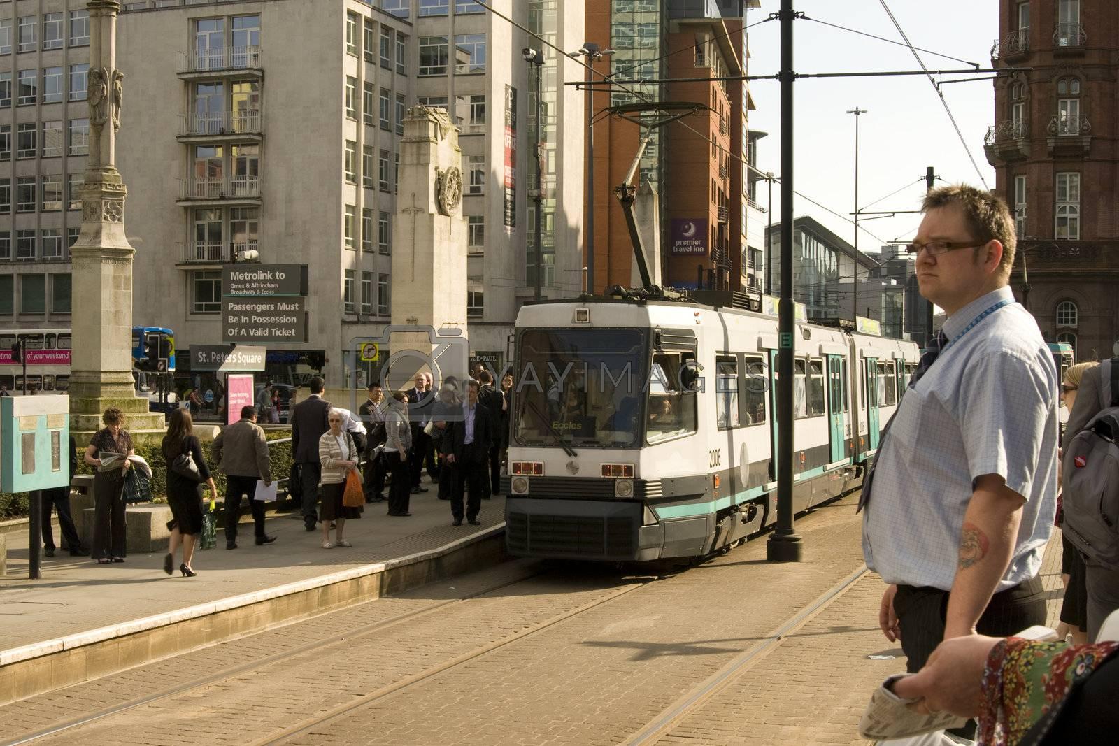 Metrolink tramway arriving at St Peter Square, Manchester,UK