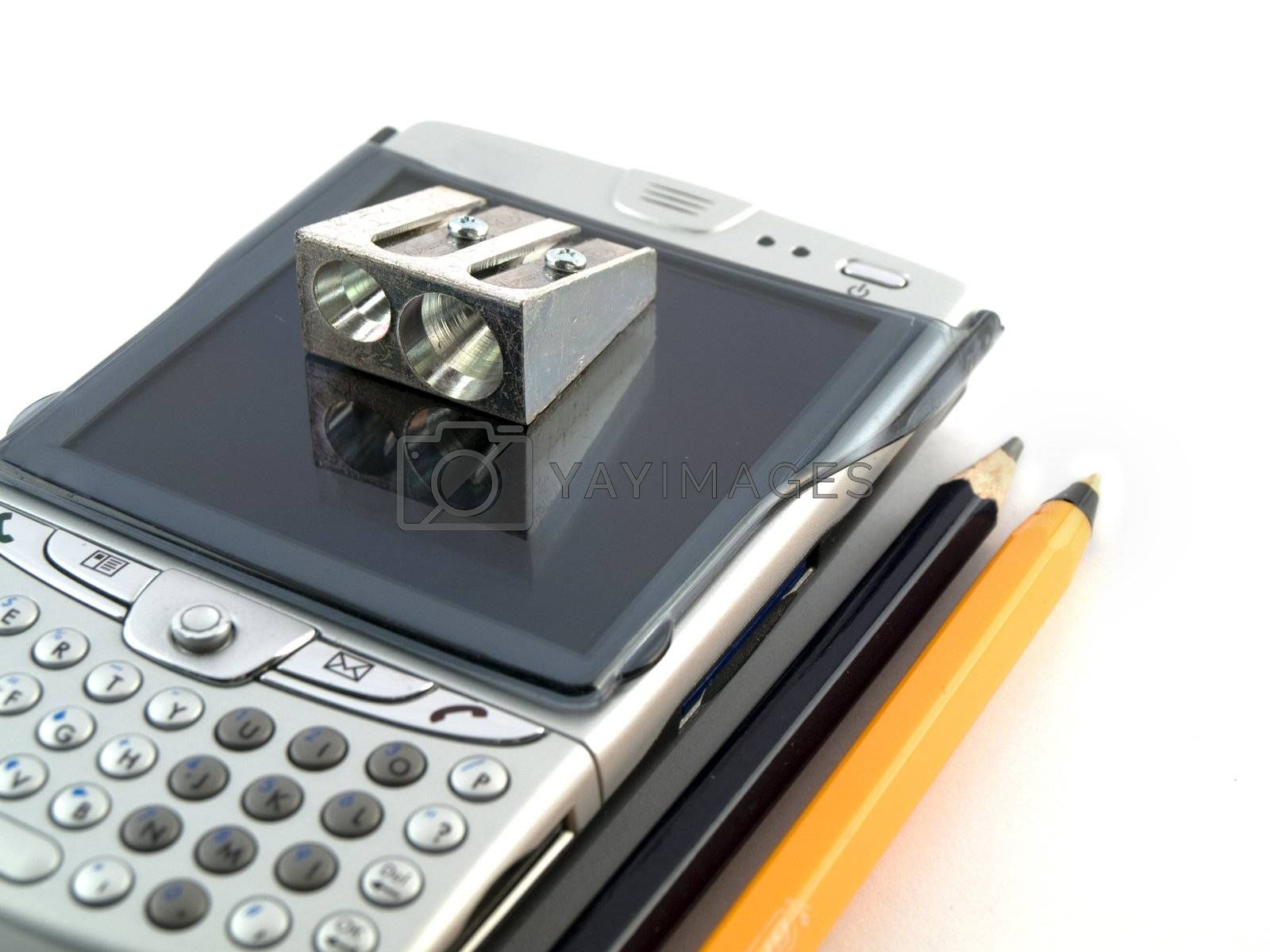 Modern Mobile Phones Pens and Pencils on White Background