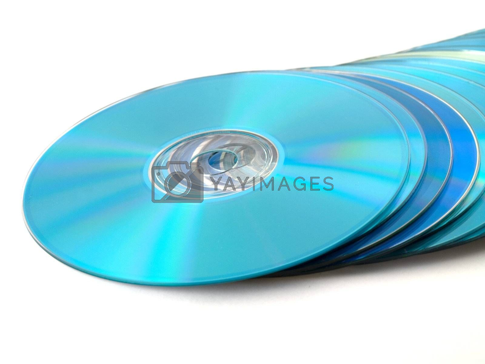CDs DVDs on White Background