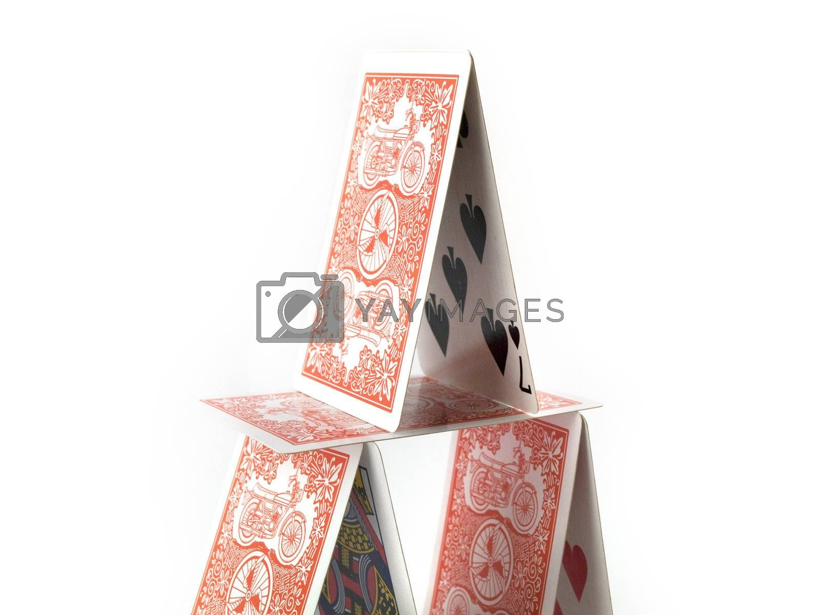 Balanced House of Cards on White Background