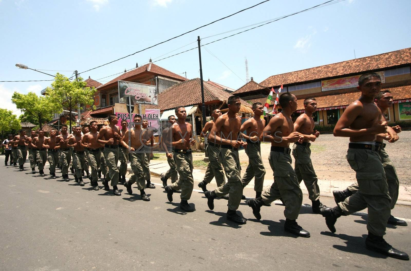 Soldiers on street. Bali. Indonesia