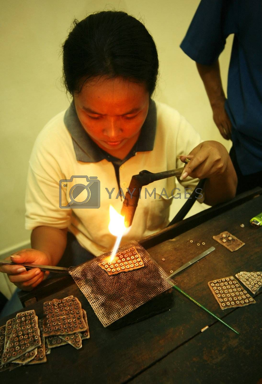 Indonesia. Bali. Factory on manufacture of silver ornaments