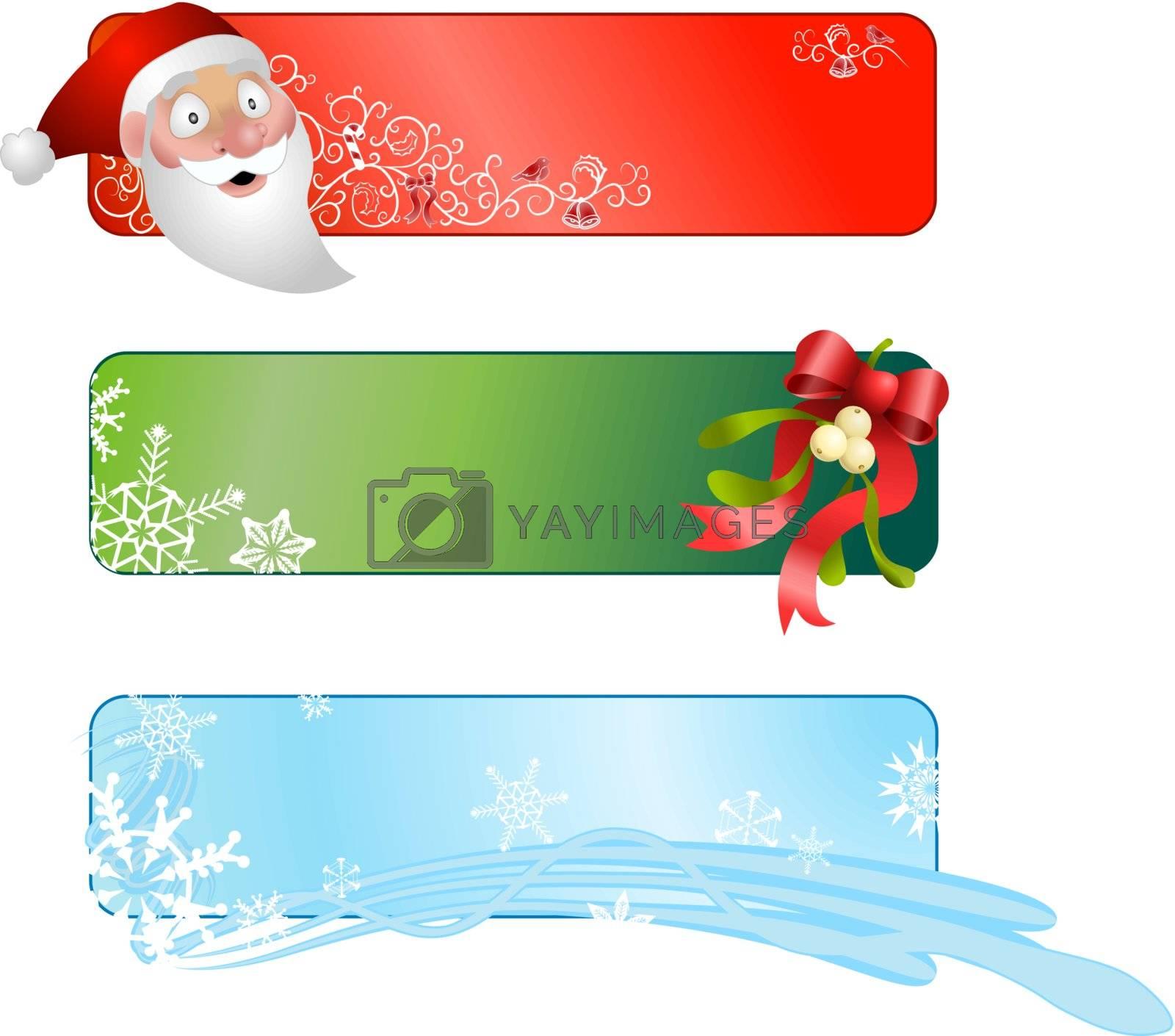 Christmas banners. Illustration of a set of three Christmas banners