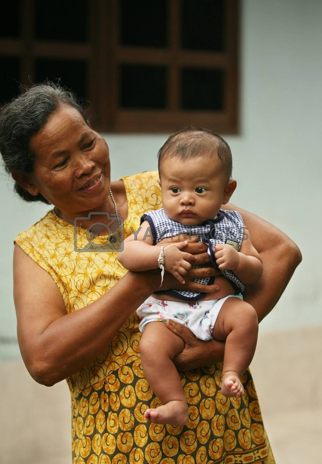 The Indonesian woman with the grandson
