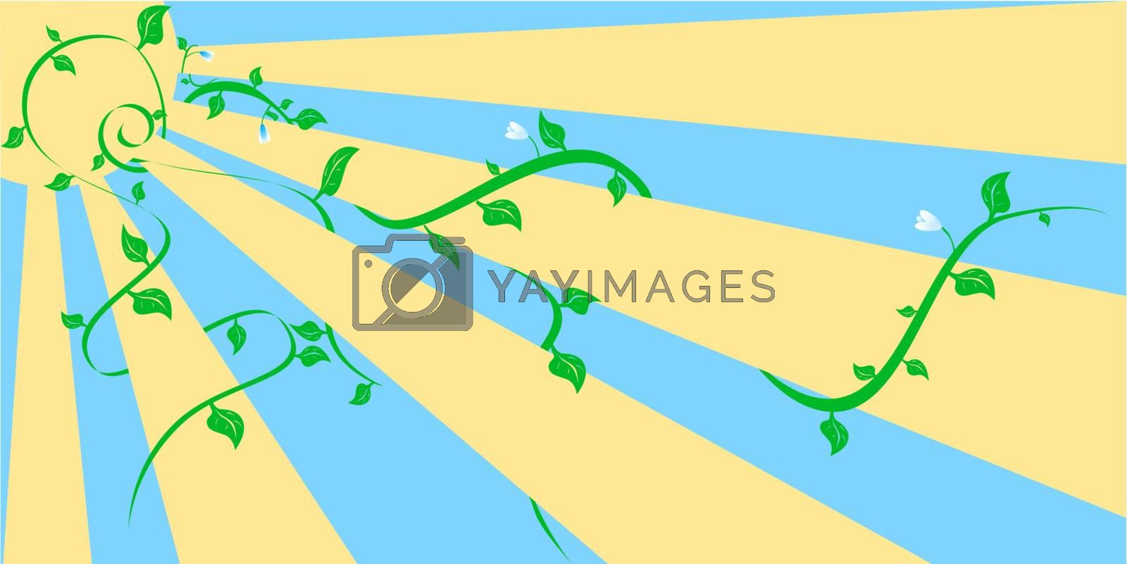 Vector spring yellow sun and curved green plants with flowers
