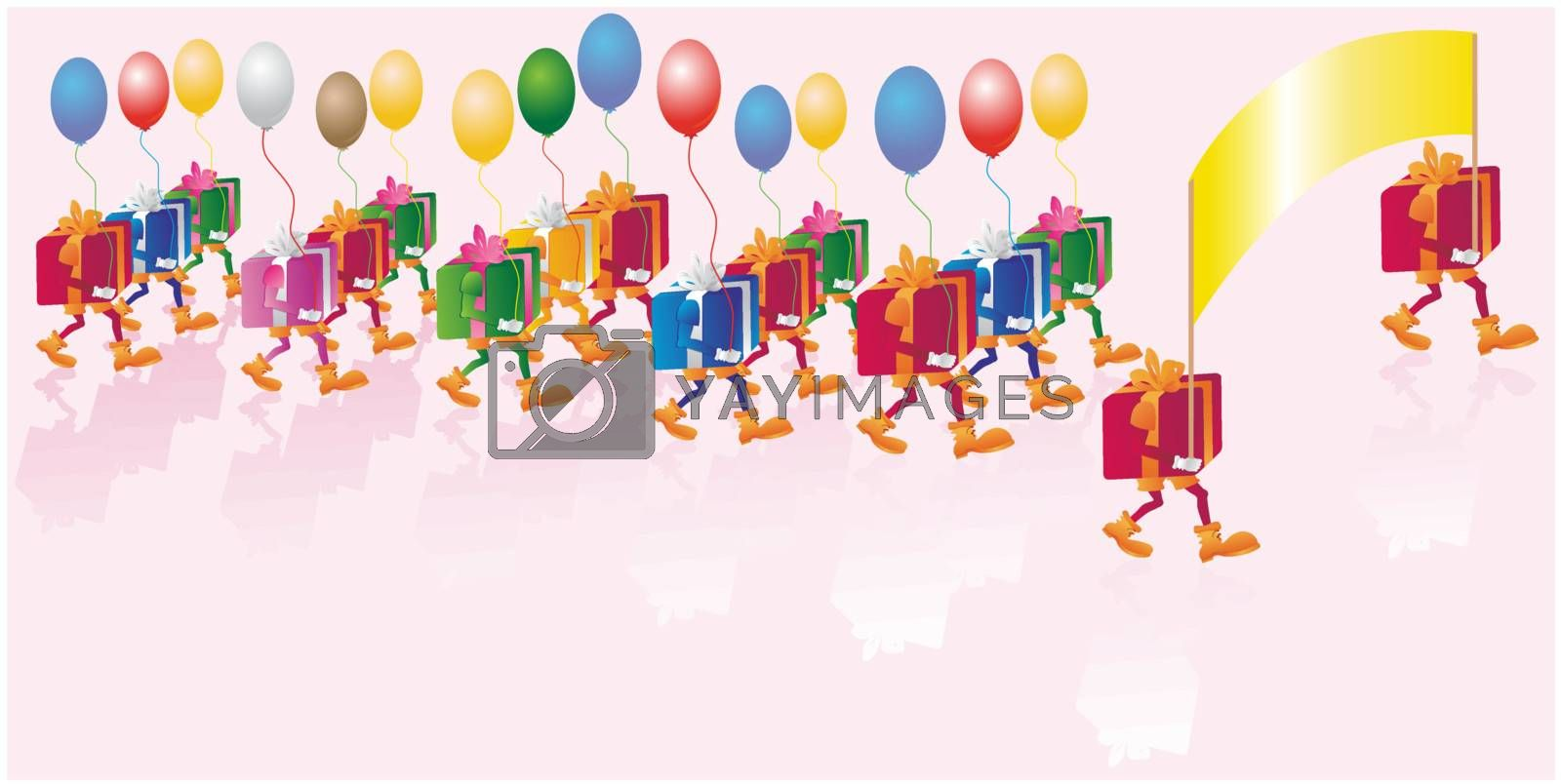 Vector multicolored bright gifts with baloons parade