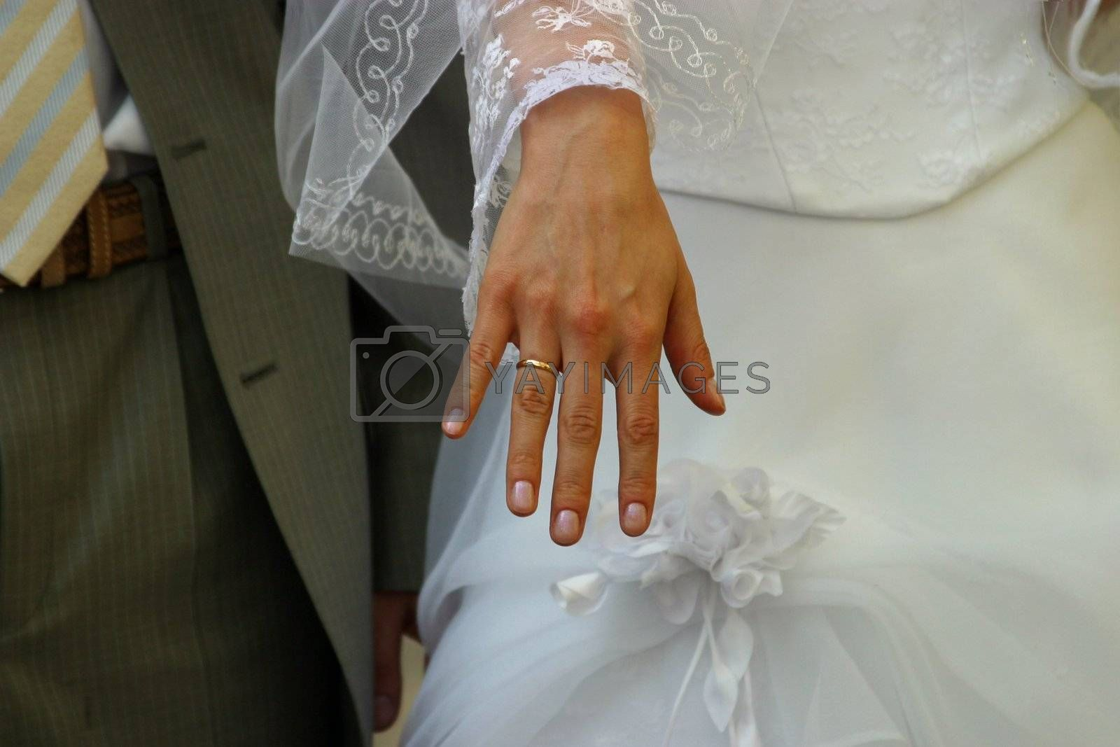 Female hand with a wedding ring