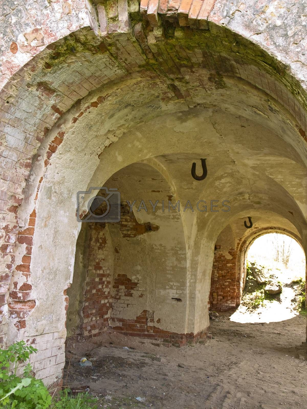 Arch of the old red bricks stronghold