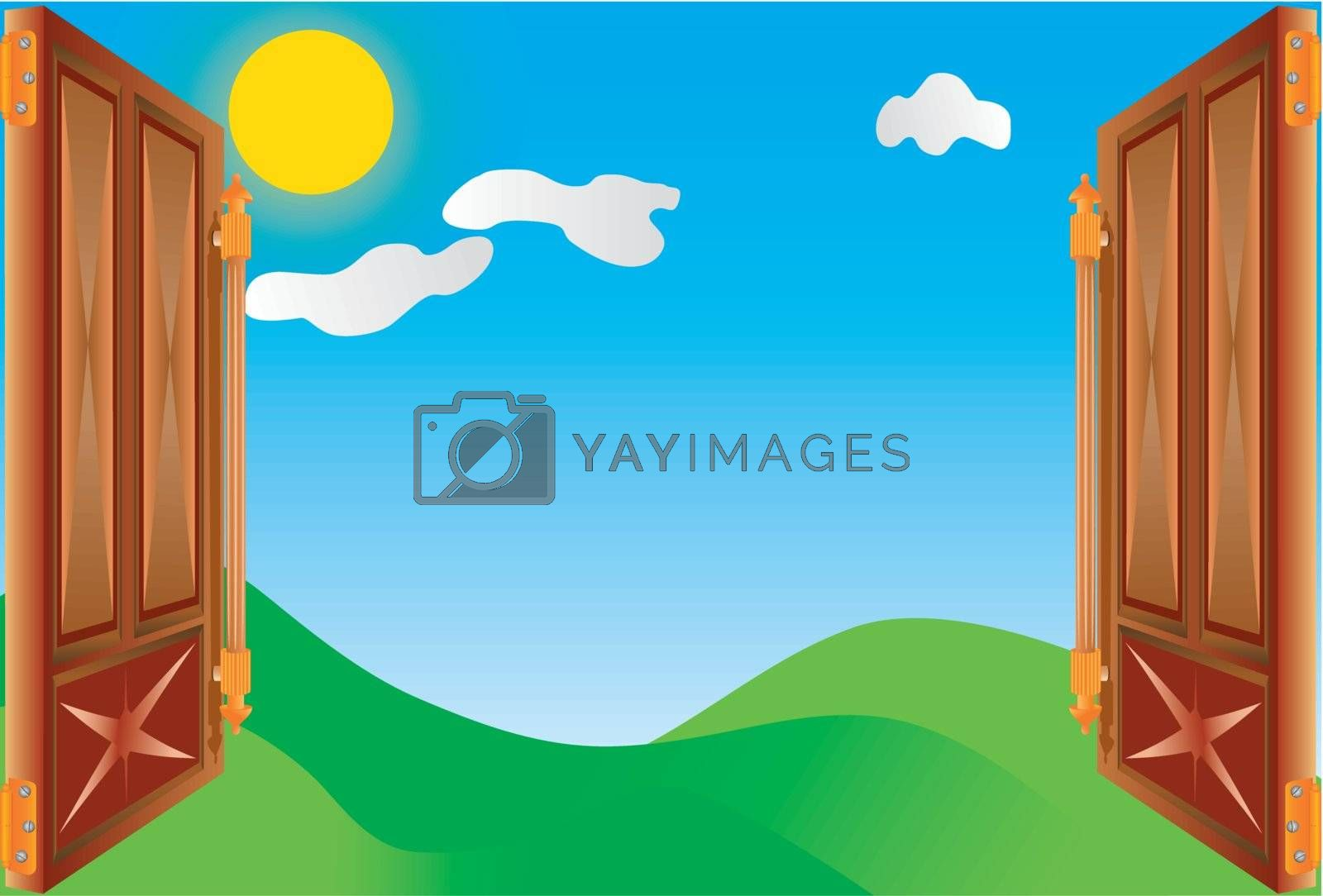 Vector doorway into green meadow with blue sky and sun