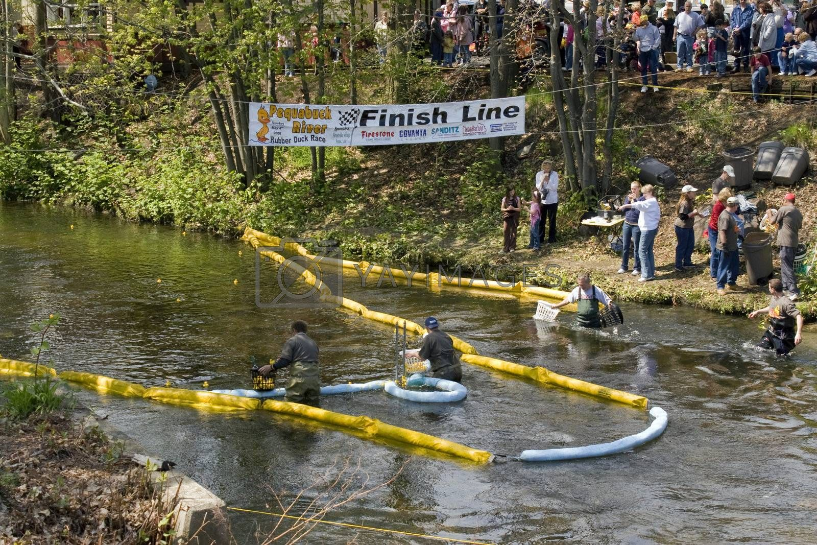 The 2008 Duck Race is an event used for local fund raising.  People purchase ducks for 5 dollars.  The duck that wins the race gets the owner a huge prize package.