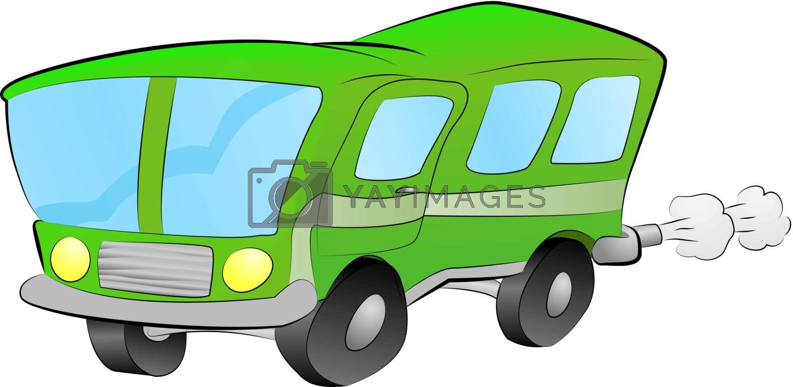 An illustration of a funky green bus