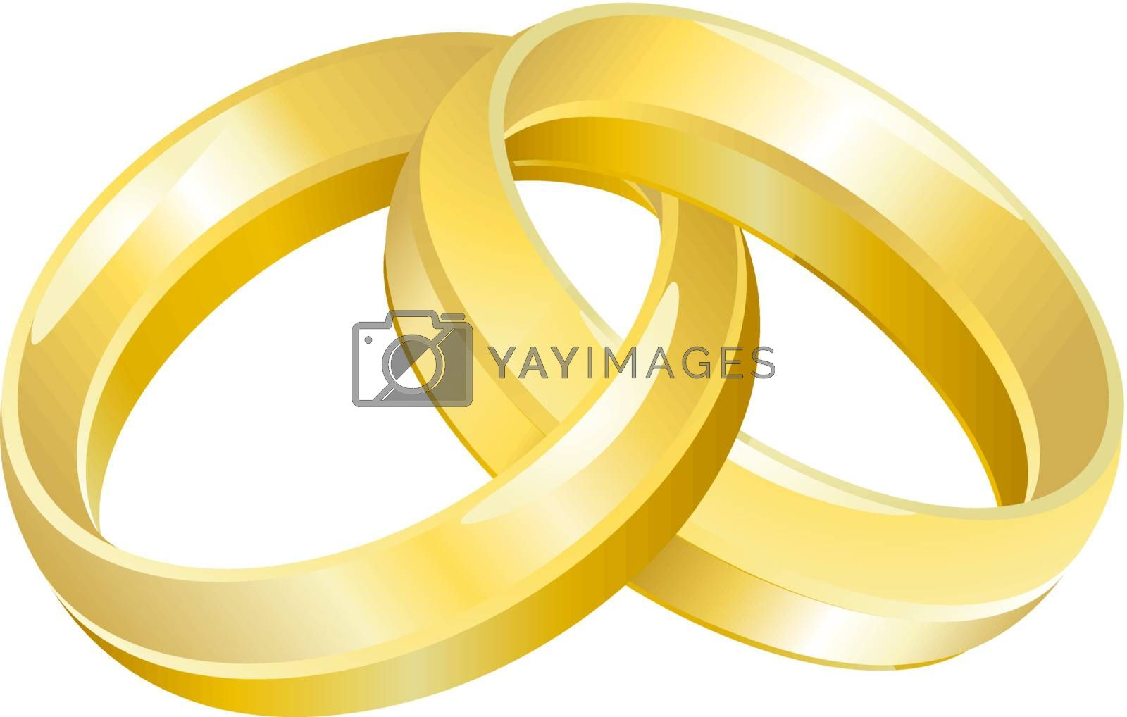 A vector illustration of intertwined wedding bands or rings