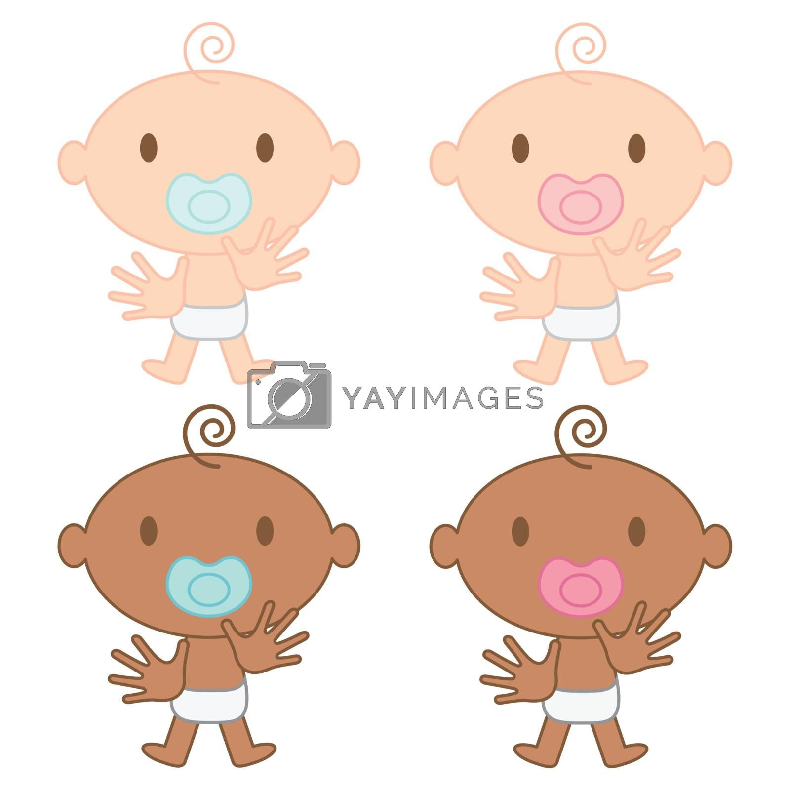 Vector illustration of multicultural babies (boy and girl) waving their little hands and with pacifiers in their mouths