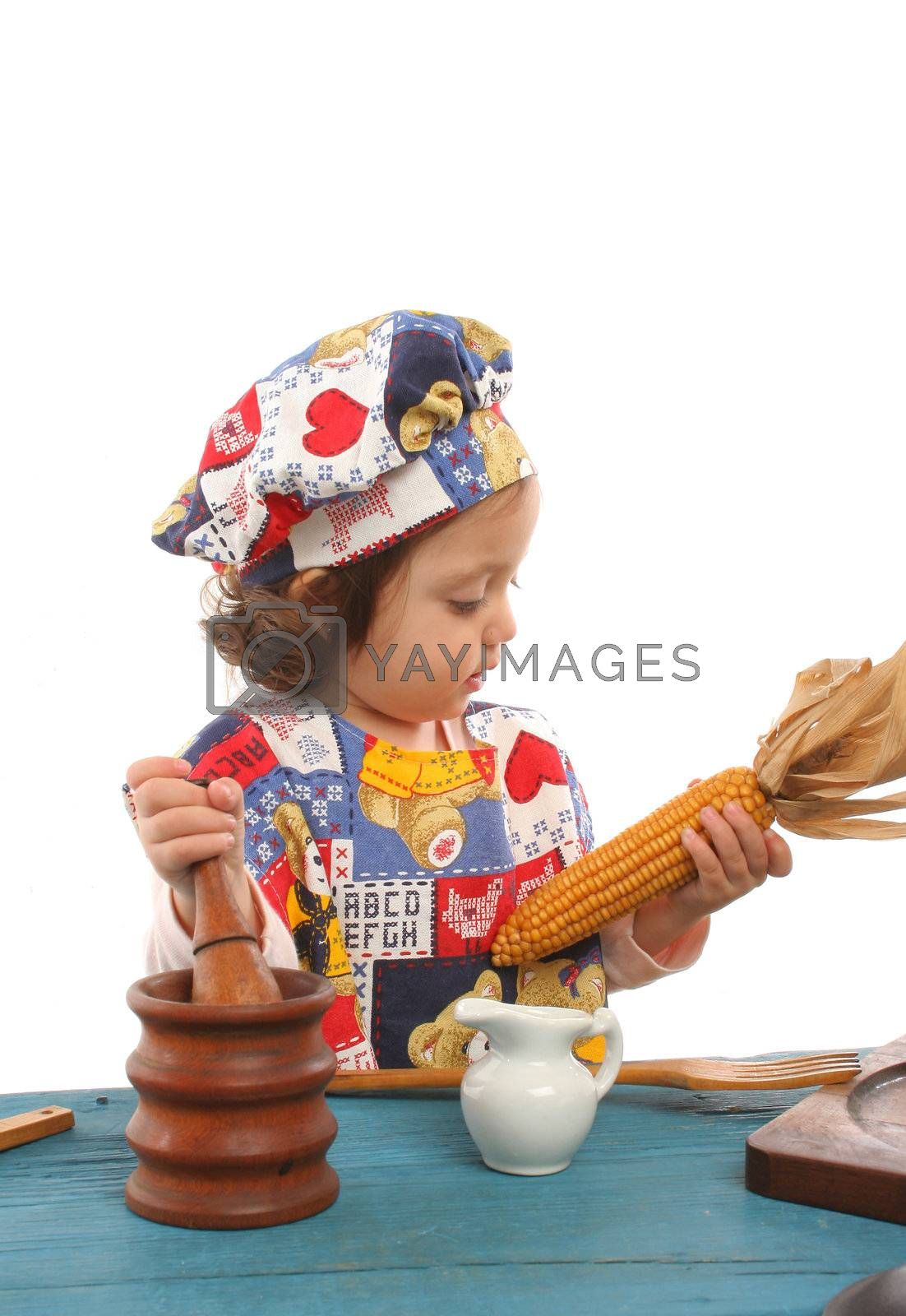 Cute toddler cooking dressed at a cheff. More pictures of this baby at my gallery