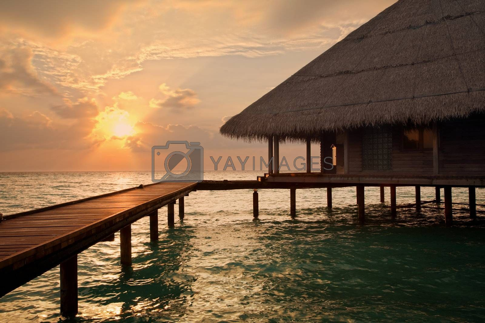 tropical beach: sunset over water. Copy space and sun beams