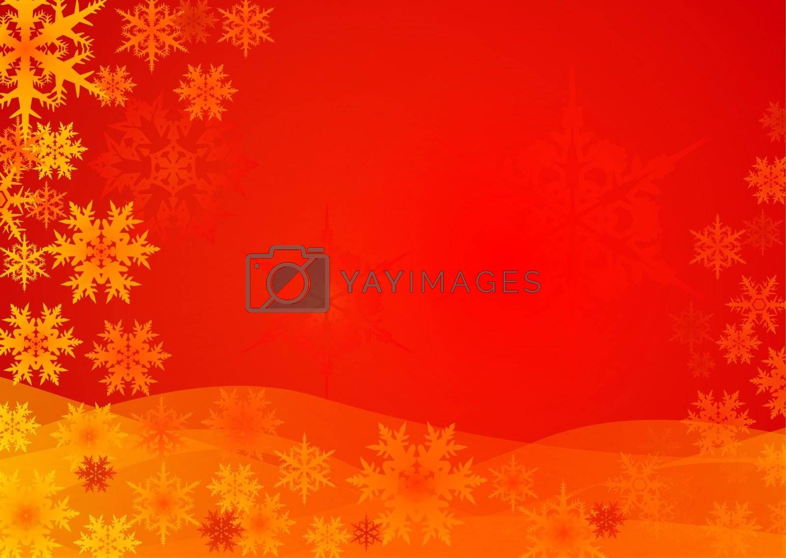red-golden Christmas background with snowflake pattern