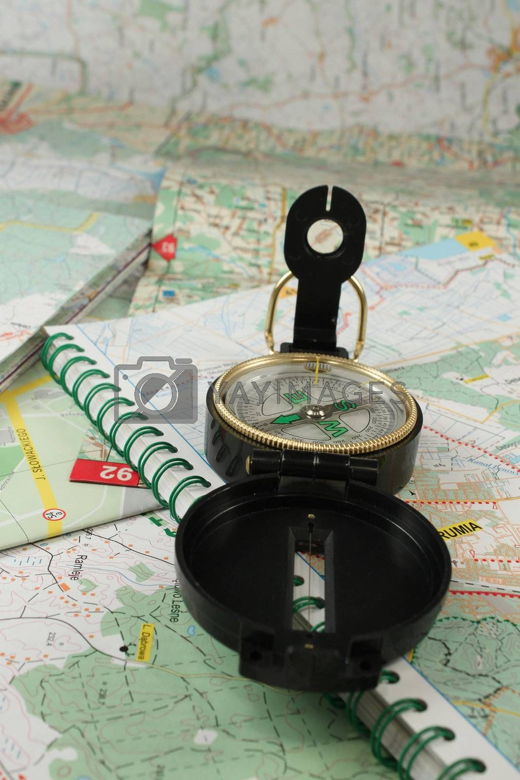 Royalty free image of Compass and the map by cobalt