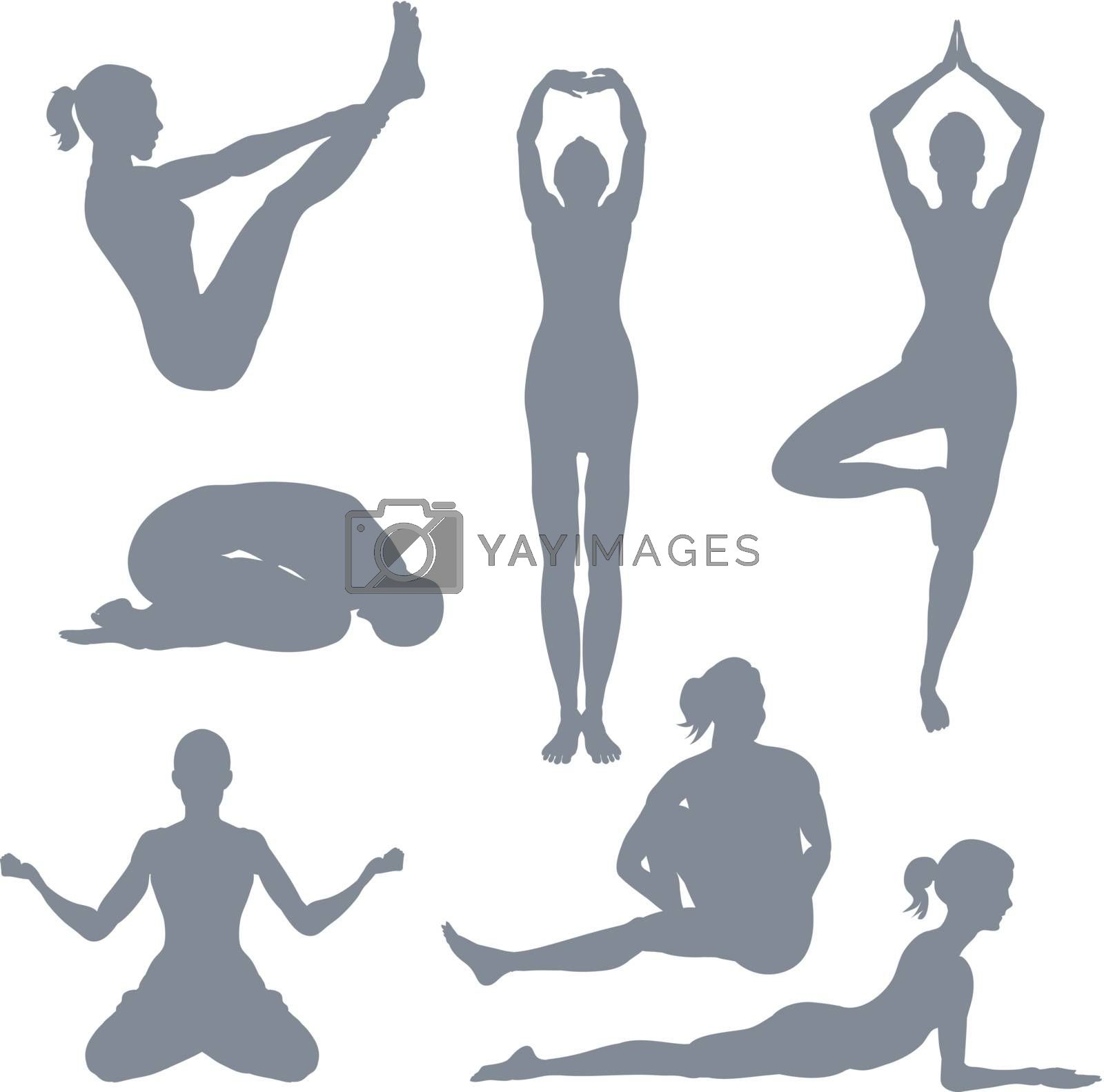 A set of yoga postures silhouettes.