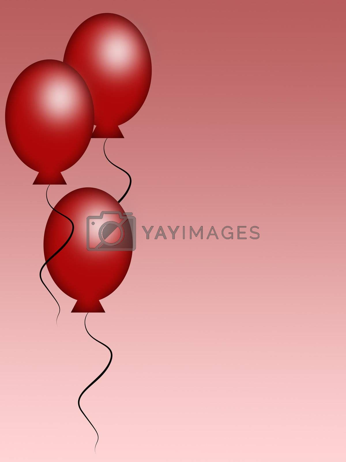 Three red balloons on a pink background