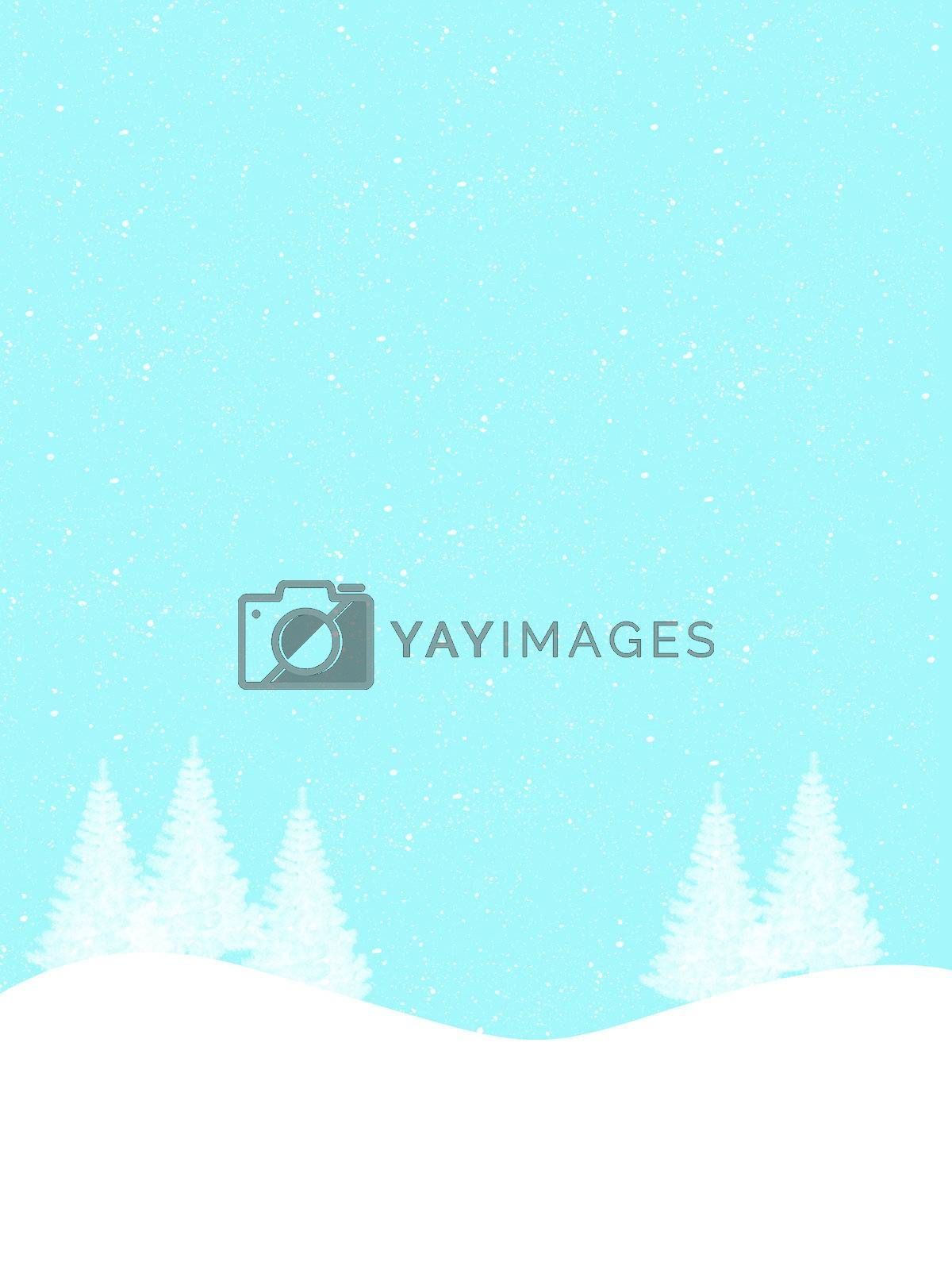 a tree covered in snow on a hill during winter. Winter wood. White trees