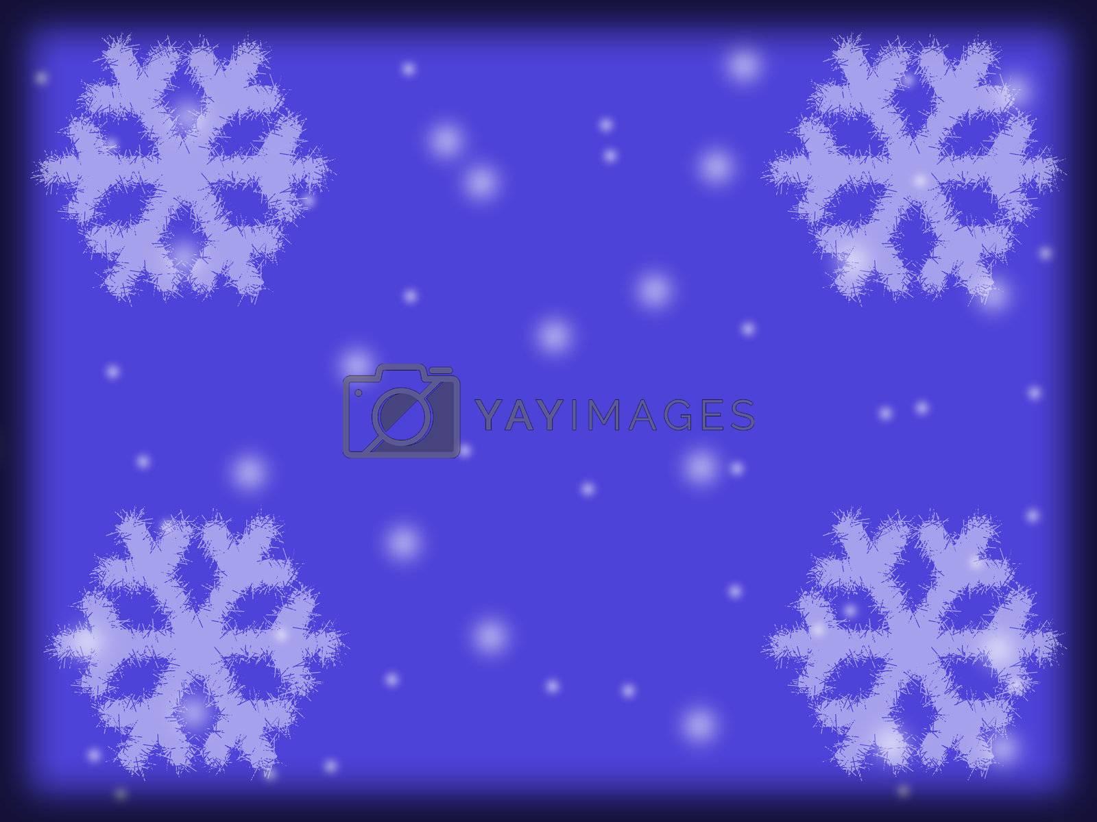 Dark blue snow background. A Christmas background. A snowflake on dark blue